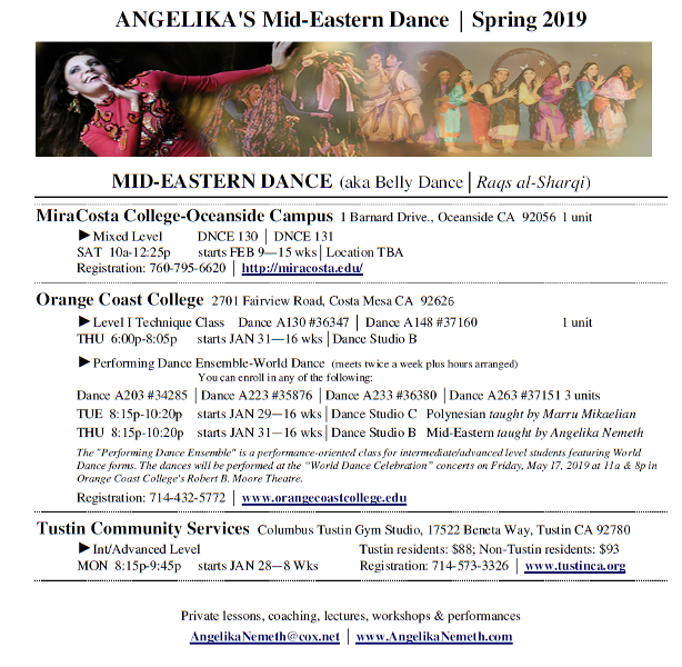 flyer for Spring 2019 classes