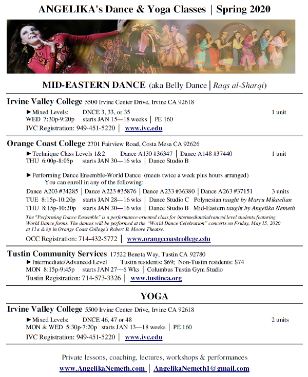 flyer for Spring 2020 classes